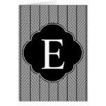 Black White Herringbone Monogram Greeting Card