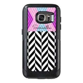 Black & White Herringbone Pattern with Monogram - OtterBox Samsung Galaxy S7 Case