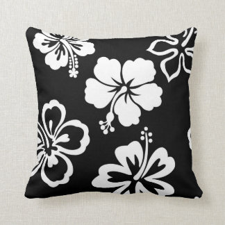 Black & White Hibiscus Throw Pillow
