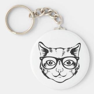 Black White Hipster Cat Keychain