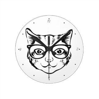 Black White Hipster Cat Wallclock