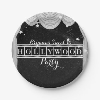 Black & White HOLLYWOOD Curtains Elegant Party Paper Plate