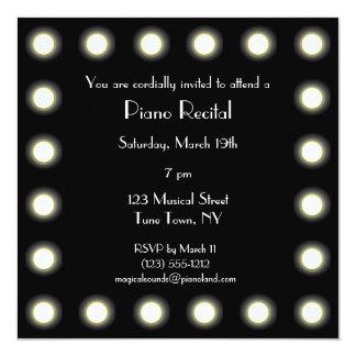 Black & White Hollywood Unisex Piano Recital Card