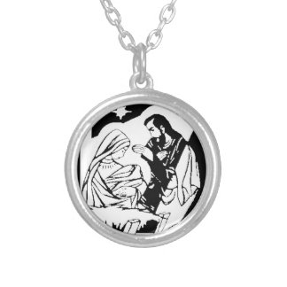 Black/White Holy Family Christmas Manger Scene Silver Plated Necklace