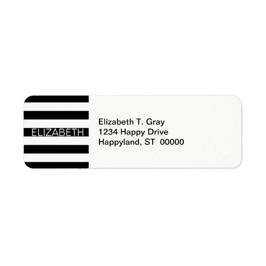 Black White Horizontal Preppy Stripe Name Monogram