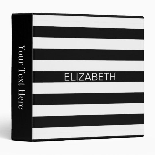 Black White Horizontal Preppy Stripe Name Monogram Vinyl Binder