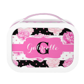 Black & White Horizontal Stripes Floral Monogram Lunch Box