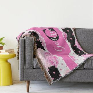 Black & White Horizontal Stripes Watercolor Floral Throw Blanket