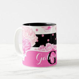 Black & White Horizontal Stripes Watercolor Floral Two-Tone Coffee Mug