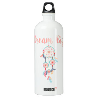 Black & White Horizontal Stripes Watercolor Floral Water Bottle