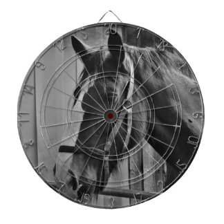 Black White Horse - Animal Photography Art Dartboard