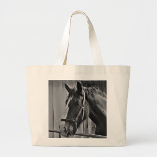 Black White Horse - Animal Photography Art Large Tote Bag