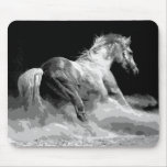Black & White Horse in Action Mouse Pad