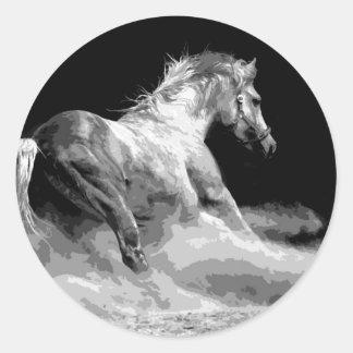 Black & White Horse in Action Round Sticker