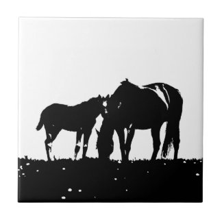 Black & White Horses Silhouette Ceramic Tiles