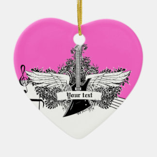 Black white hot pink electric guitar with wings ceramic heart ornament
