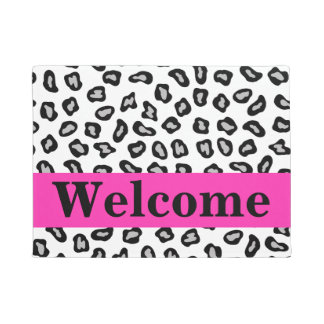 Black White Hot Pink Leopard Skin Pattern Welcome Doormat