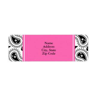 Black, White, Hot Pink Paisley Pattern