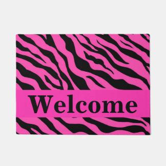 Black White Hot Pink Zebra Skin Pattern Welcome Doormat