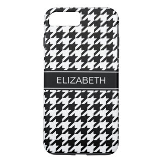 Black White Houndstooth #2 Black Name Monogram iPhone 8 Plus/7 Plus Case
