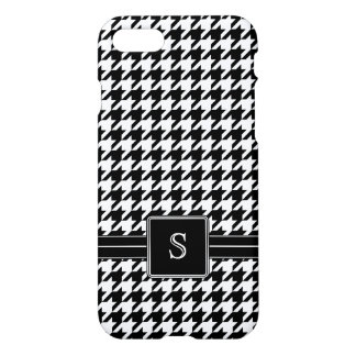 Black White Houndstooth Custom Monogram Initial iPhone 7 Case