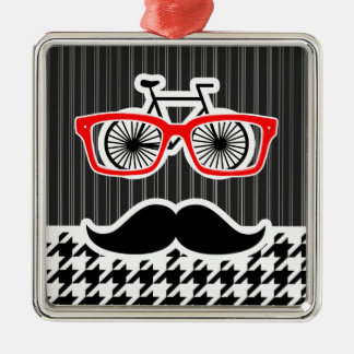 Black & White Houndstooth; Hipster Christmas Tree Ornament