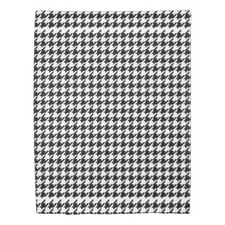 Black white houndstooth pattern twin duvet cover