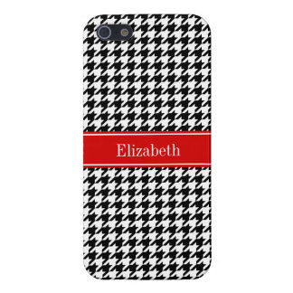 Black White Houndstooth Red Name Monogram iPhone 5 Cases