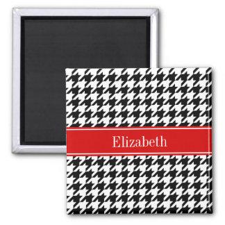 Black White Houndstooth Red Name Monogram Square Magnet
