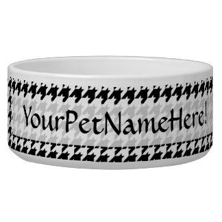 Black/White Houndstooth Stylish Fashion Designer Dog Water Bowls