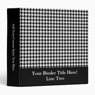 Black/White Houndstooth Stylish Fashion Designer Vinyl Binder