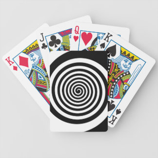 Black & White Hypnotic Spiral Bicycle Playing Cards