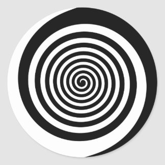 Black & White Hypnotic Spiral Classic Round Sticker