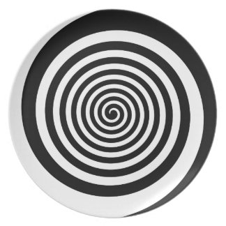 Black & White Hypnotic Spiral Dinner Plates