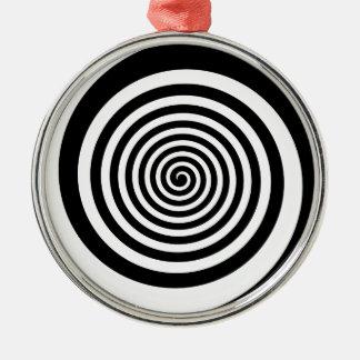 Black & White Hypnotic Spiral Silver-Colored Round Ornament