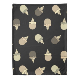 Black white Ice dream cone duvet cover
