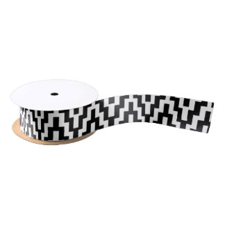 Black White Ikat Chevron Zig Zag Stripes Pattern Satin Ribbon