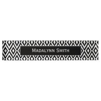 Black/White Ikat Pattern with Executive Name Desk Name Plates