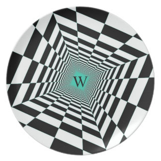 Black White Illusion Plate
