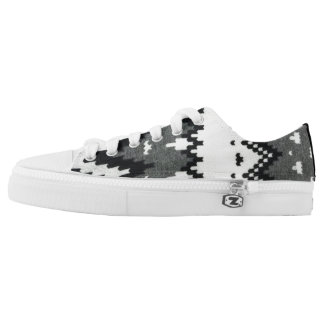 Black & White Indian Pattern Low-Top Sneakers