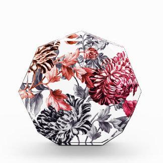 Black & White & Indian Pink Botanical Floral Toile
