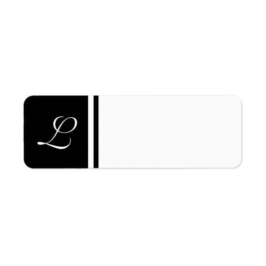 Black White Initial Label- Customizable Background Return Address Label