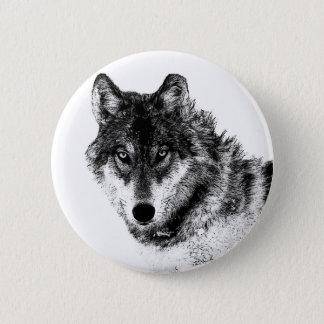 Black White Inspirational Wolf Eyes 2 Inch Round Button