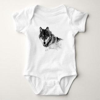 Black White Inspirational Wolf Eyes Baby Bodysuit