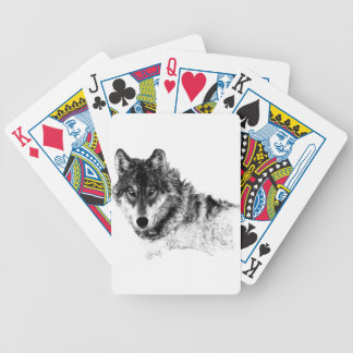Black White Inspirational Wolf Eyes Bicycle Playing Cards