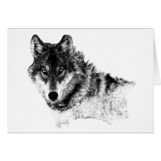Black White Inspirational Wolf Eyes Card