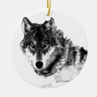 Black White Inspirational Wolf Eyes Ceramic Ornament