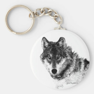 Black White Inspirational Wolf Eyes Keychain