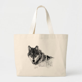 Black White Inspirational Wolf Eyes Large Tote Bag