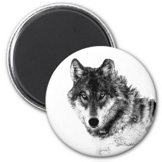 Black White Inspirational Wolf Eyes Magnet